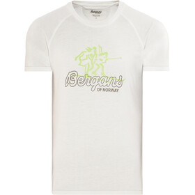 Bergans Tee Homme, white/faded olive/spring leaves